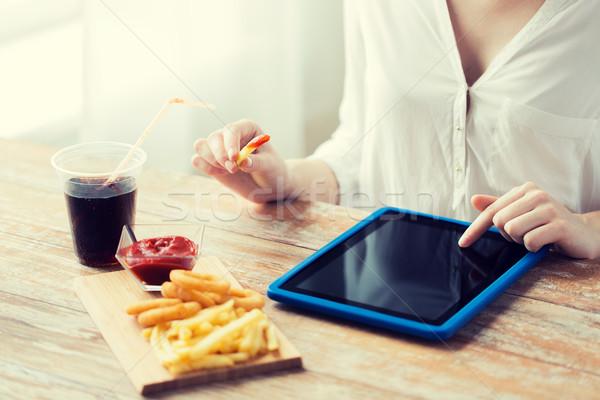 Stockfoto: Vrouw · fast · food · mensen · technologie