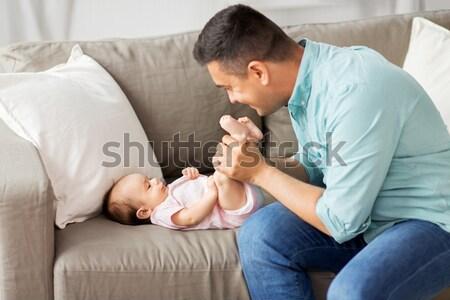 Boldogtalan pár problémák hálószoba emberek kapcsolat Stock fotó © dolgachov
