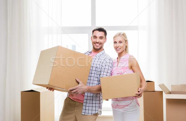 Stock fotó: Pár · nagy · karton · dobozok · mozog · új · otthon