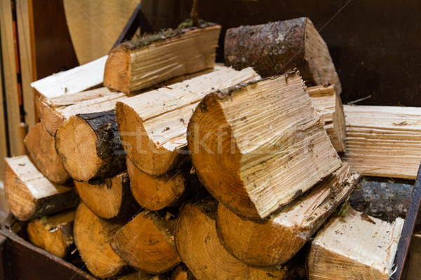 close up of firewood pile Stock photo © dolgachov