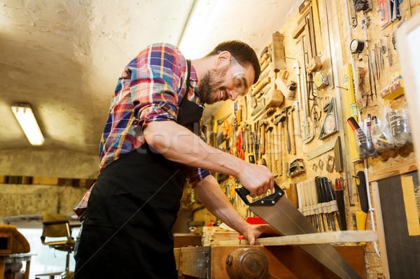 Timmerman werken zag hout workshop beroep Stockfoto © dolgachov