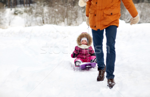 father pulling sled with happy child in winter Stock photo © dolgachov