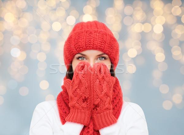 surprised woman in hat, scarf and mittens Stock photo © dolgachov