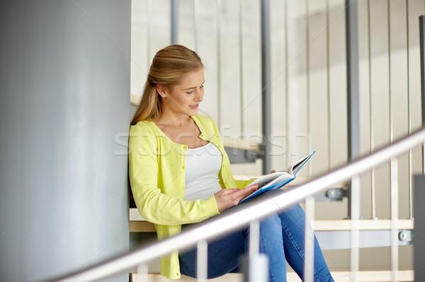 smiling high school student girl reading book Stock photo © dolgachov