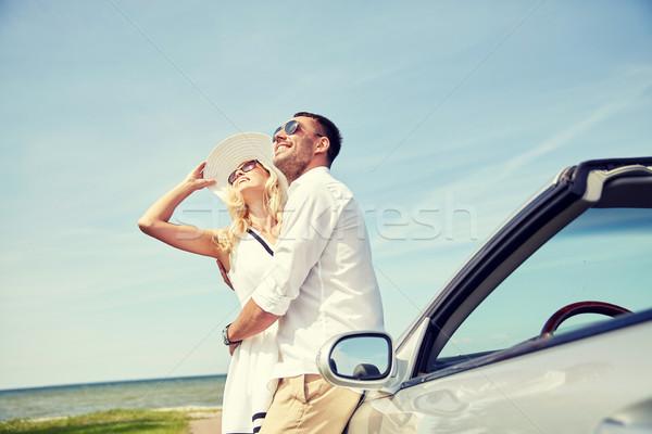 Stockfoto: Gelukkig · paar · kabriolet · auto · zee