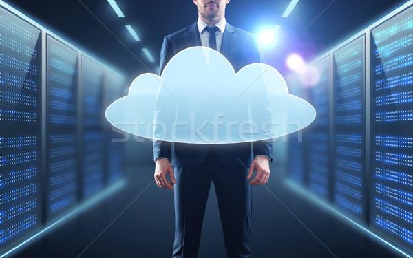 бизнесмен костюм виртуальный облаке голограмма деловые люди Сток-фото © dolgachov