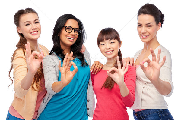 international group of happy women showing ok Stock photo © dolgachov