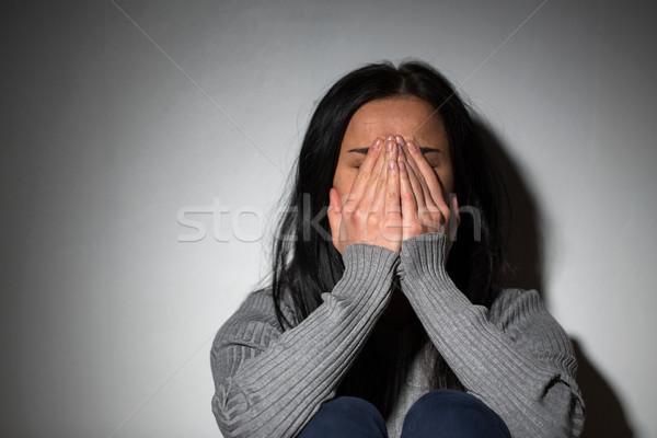 悲しい 泣い 女性 家庭内暴力 人 ストックフォト © dolgachov