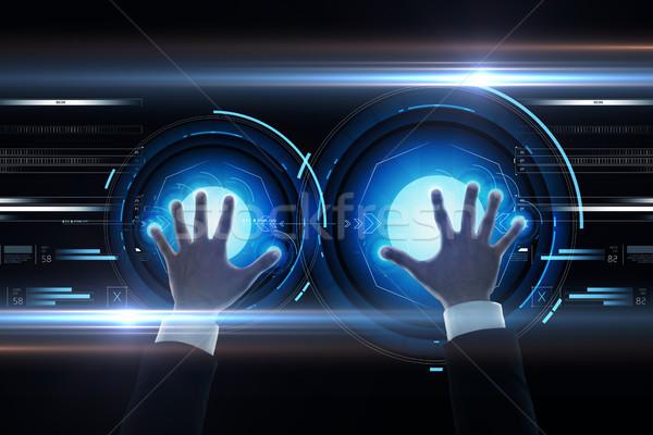 ビジネスマン 手 バーチャル 投影 ビジネスの方々  将来 ストックフォト © dolgachov