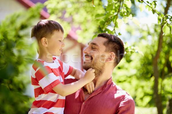 Photo stock: Heureux · père · en · fils · été · jardin · famille · paternité