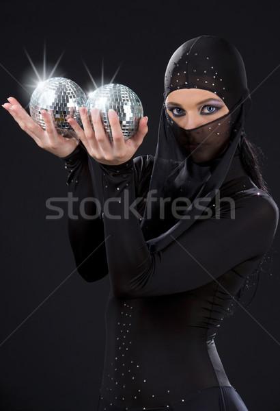 Ninja partij danser jurk disco Stockfoto © dolgachov