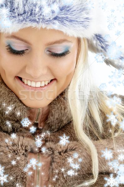 Kış kız kar taneleri portre güzellik elbise Stok fotoğraf © dolgachov