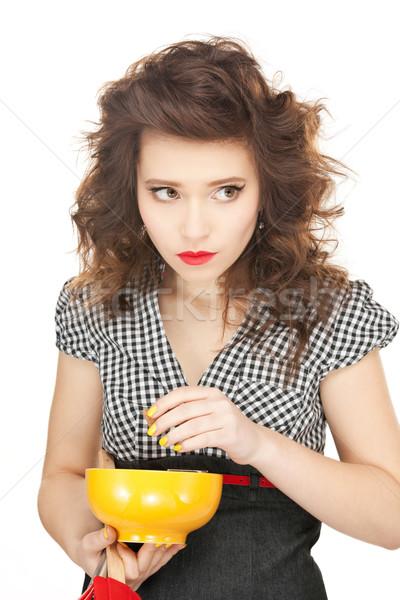 Ev kadını fincan parlak resim kadın kız Stok fotoğraf © dolgachov