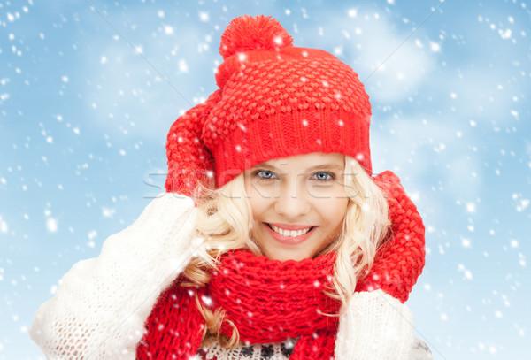 Bella donna Hat marmitta muffole luminoso foto Foto d'archivio © dolgachov