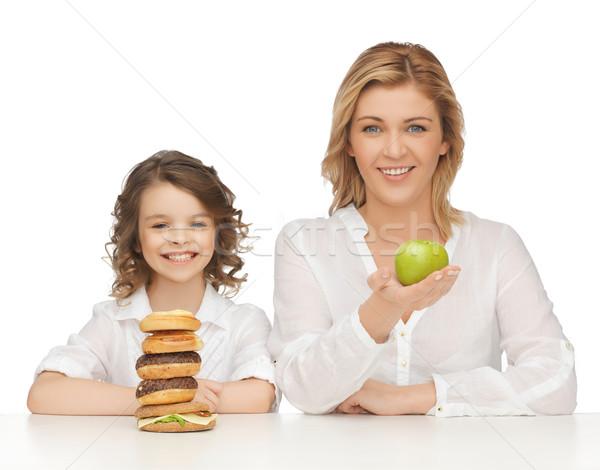 Mutter Tochter gesunden ungesunde Lebensmittel Familie Mädchen Stock foto © dolgachov