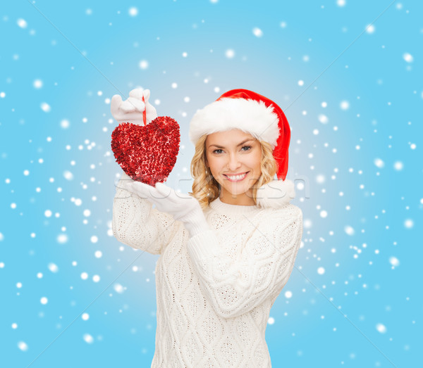 smiling woman in santa helper hat with red heart Stock photo © dolgachov