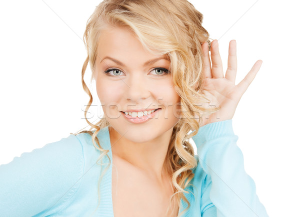 Heureux femme écouter potins affaires communication Photo stock © dolgachov