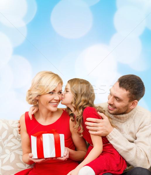 adorable child kisses her mother Stock photo © dolgachov