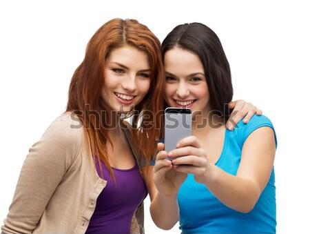 Сток-фото: два · улыбаясь · подростков · технологий · дружбы