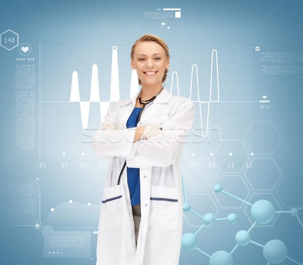 Stok fotoğraf: Gülen · kadın · doktor · stetoskop · sağlık · araştırma
