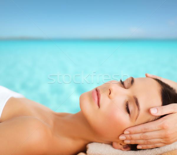 Stock photo: beautiful woman in spa salon having facial
