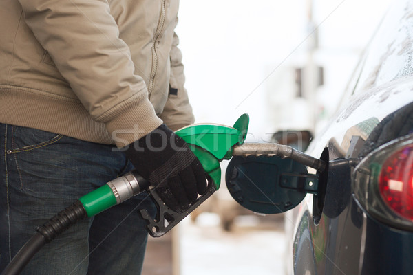 close up of male refilling car fuel tank Stock photo © dolgachov