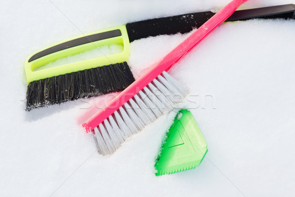 variety of snow cleaning equipment on snow Stock photo © dolgachov