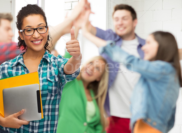 Diák szemüveg mappák táblagép oktatás technológia Stock fotó © dolgachov