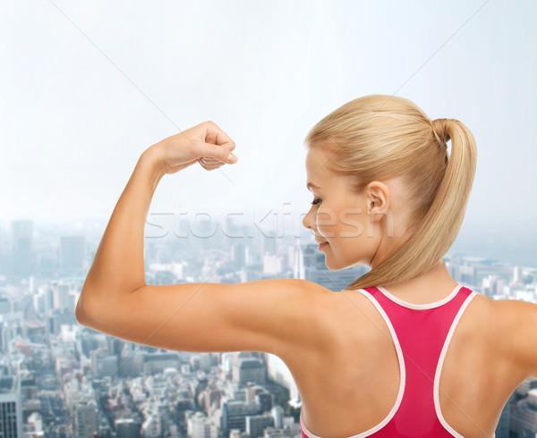 Stock fotó: Sportos · nő · mutat · bicepsz · fitnessz · egészségügy