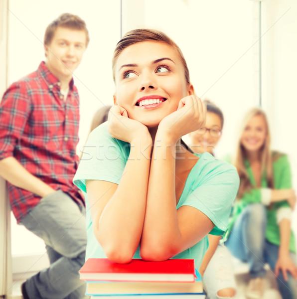 Foto stock: Feliz · sorridente · estudante · menina · livros · escolas