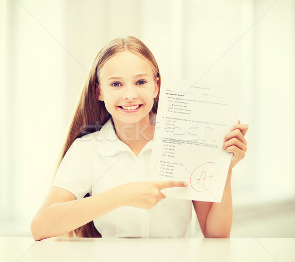 girl with test and grade at school Stock photo © dolgachov