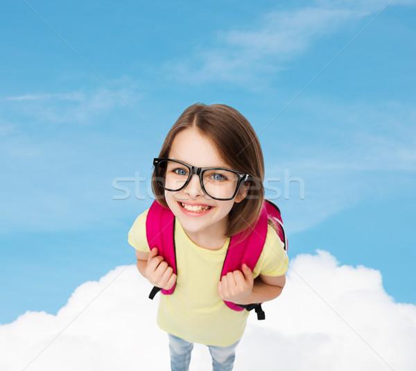 Heureux souriant adolescente lunettes sac éducation Photo stock © dolgachov