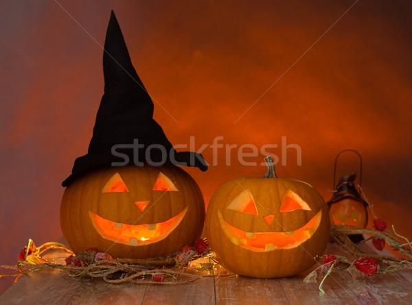 close up of pumpkins on table Stock photo © dolgachov