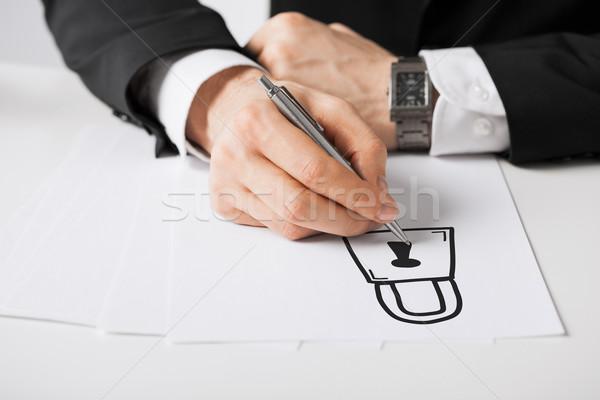 Mannelijke handen pen tekening slot Stockfoto © dolgachov