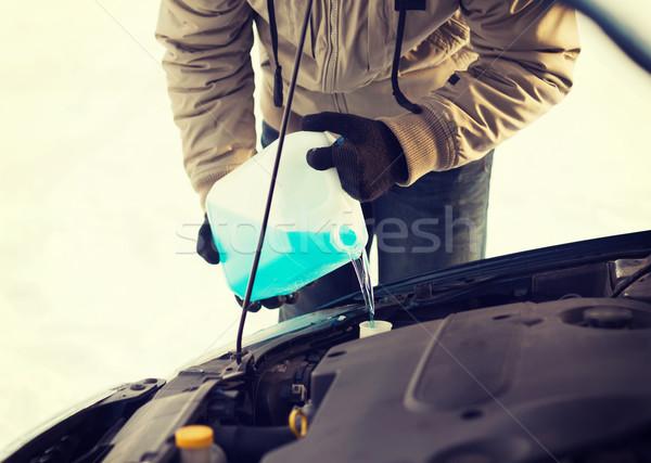 closeup of man pouring antifreeze into water tank Stock photo © dolgachov