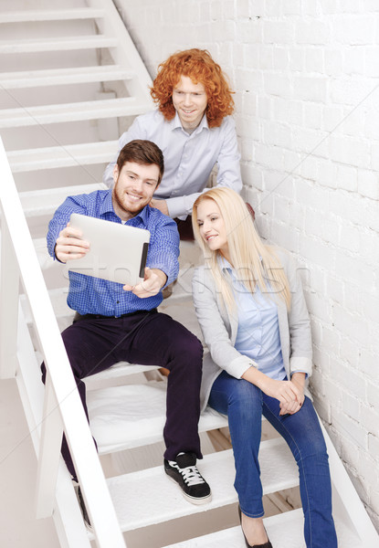 команда компьютер сидят лестница бизнеса Сток-фото © dolgachov