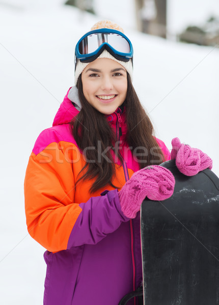 happy young woman with snowboard outdoors Stock photo © dolgachov