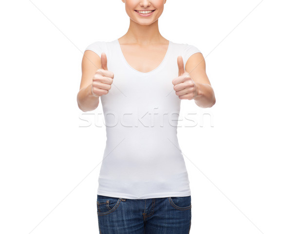 Frau tshirt Design glückliche Menschen Stock foto © dolgachov