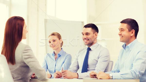 笑みを浮かべて 女性実業家 インタビュー オフィス ビジネス キャリア ストックフォト © dolgachov