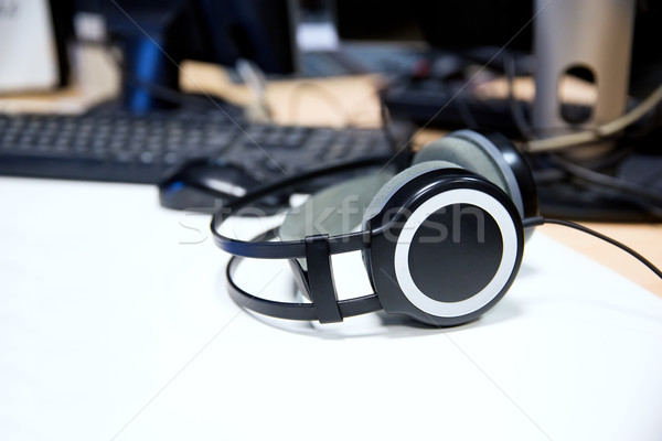 Stock photo: headphones at recording studio or radio station