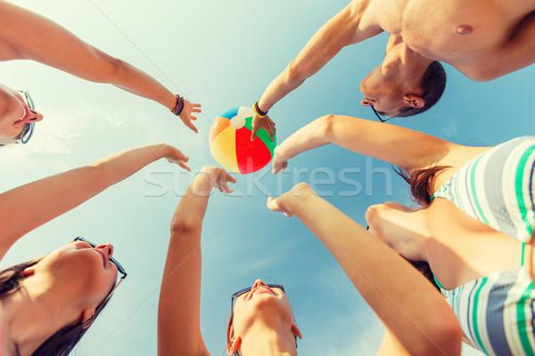 Foto stock: Sonriendo · amigos · círculo · verano · playa · amistad