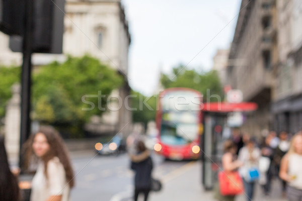 city street with people and transport in london Stock photo © dolgachov