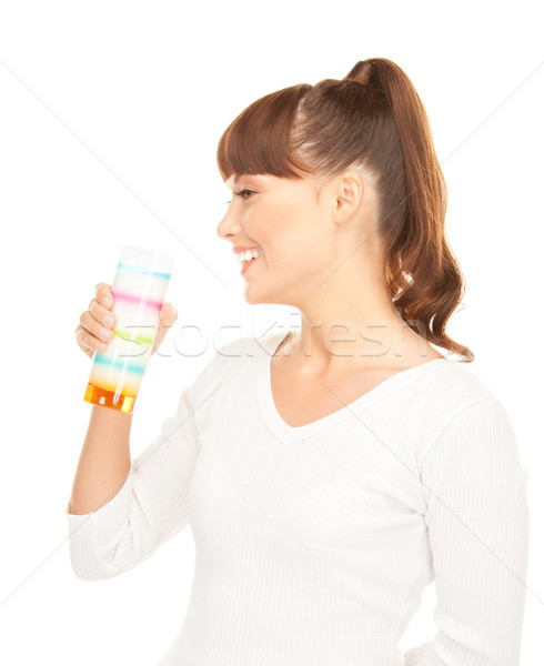 lovely woman with glass of milk Stock photo © dolgachov