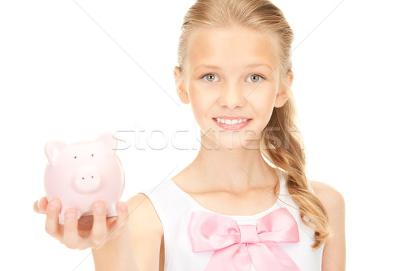 Stockfoto: Tienermeisje · spaarvarken · foto · meisje · gelukkig · student