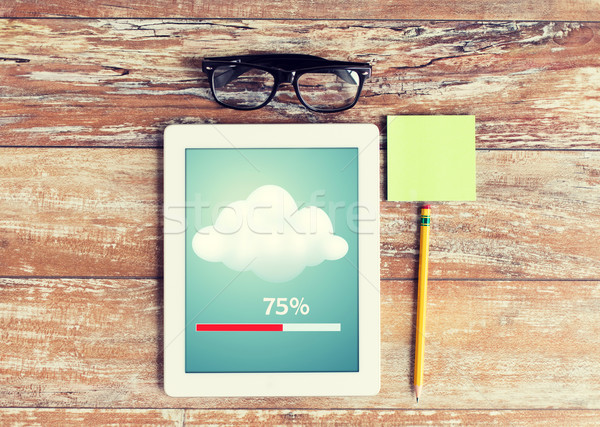 close up of tablet pc transferring data Stock photo © dolgachov