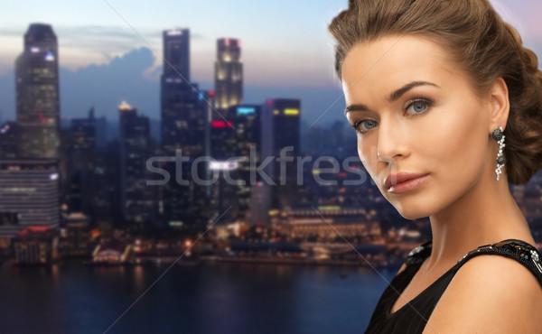 красивая женщина вечер город люди Сток-фото © dolgachov