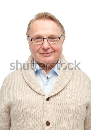 Sorridente senior homem cardigã idade moda Foto stock © dolgachov