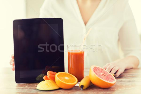 Stockfoto: Vrouw · handen · sap · vruchten · gezond · eten