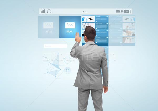 бизнесмен виртуальный проекция электронная почта деловые люди технологий Сток-фото © dolgachov