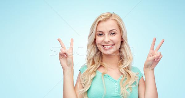 Sorridere pace positivo Foto d'archivio © dolgachov